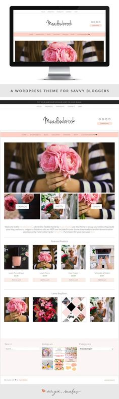 The Meadowbrook Feminine Wordpress Theme by Angie Makes is Stylish, Sleek, and perfect for bloggers + small biz owners. Check it out!