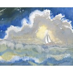 Signed 5x7 8x10 or 11x14 inch landscape seascape print sailing the seas a solitary yacht on ocean sea fever John Masefield poem Susan Alison
