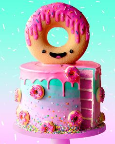 Learn to make Epic Kawaii Donut Cake! #TheScranLine #NickMakrides #DIY #Baking #Donut #GiantDonut