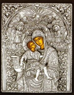 """An exquisite silver Greek Orthodox icon of Theotokos Axion Esti. Maria, the Mother of God, is the """"Patron Saint"""" of the Spiritual Republic of Mt. Athos. In one of the magnificent monasteries there is a huge icon on the Blessed Virgin Mary which has been titled """"Axion Esti,"""" meaning 'it is worthy to bless Thee, the Virgin'. This beautiful icon was painted in the 10th century and has since graced the sacred walls of the Cathedral of Mt. Athos."""
