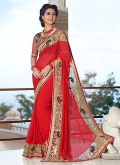 Ethnic NX Jazzy Red Designer Saree | Whats Up No. +918238311448 | http://www.ethnicnx.com/sarees/jazzy-red-designer-saree-8334