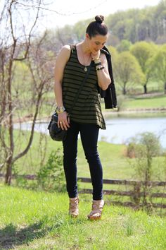 Spring Edgy Fashion w/ striped tank, quilted leather, strappy heels, and a crossbody bag #agjeans #goodnightmacaroon #tjmaxx #forever21 #shoemint #vintage