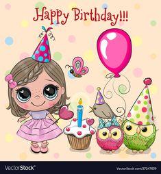 Birthday Wishes For Kids, Happy Birthday Wishes Cards, Happy Birthday Girls, Happy Birthday Quotes, Happy Birthday Images, Birthday Cards, Happy Birthday Illustration, Wish Kids, Clipart