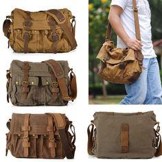 Vintage Mens Women Casual Canvas Shoulder Bag Messenger Satchel Bag New Bag HW04 | eBay