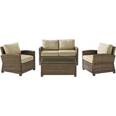 4-Piece Bethany Rattan Seating Group in Sand