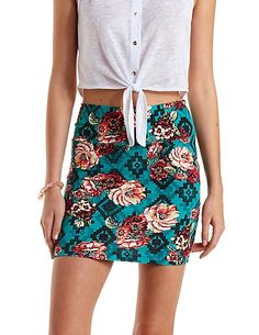 Floral Aztec Print Bodycon Mini Skirt: Charlotte Russe #miniskirt #floral #bodycon