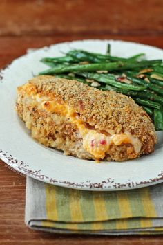 This Pimento Cheese Stuffed Chicken has a crispy Cajun coating and gooey pimento cheese inside for only 344 calories or 6 Weight Watchers SmartPoints!