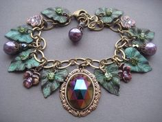 Cathedral Grove Charm Bracelet  Leaf by SilverTrumpetJewelry