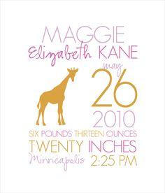 Nursery Print - Birth Stats - Baby Girl Zoo 11x17