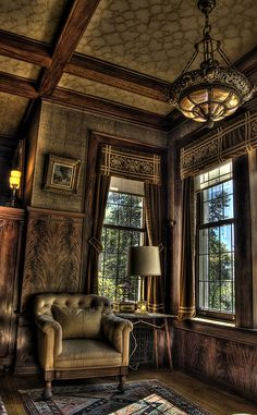 Library at Glensheen Mansion in Duluth,MN. I wish the pretty Lake Superior was visible through the window