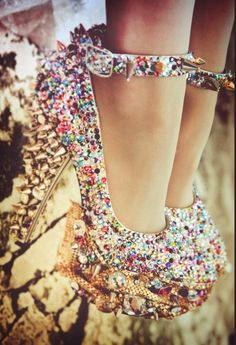 glitter heels with spikes <3 if your going for an outrageous bedazzled look then these are perfect for your outfit<33