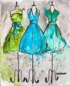 Print - Watercolor and Ink - Vintage Dress Painting - Vintage Aqua Trio - 8x10. $20.00, via Etsy.