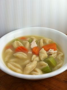 Knefla Soup II Recipe - In a medium bowl, combine flour, egg, 1/2 cup water and salt to form a dough. Cut into thin strips or small pieces.  Bring a large pot of water to boil. Stir in dough, potatoes and onion. Cook 20 minutes, until potatoes are tender. Drain. While pasta and …