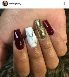 Marble nails. Burgundy nails. Gold nails.