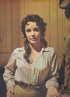 """Liz Taylor on the set of """"Giant"""""""