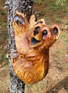 CUSTOM Climbing Bear Cubs Chainsaw Carving by ShadowsOfNature