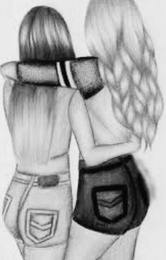 Cute Best Friend Drawings, Best Friend Sketches, Friends Sketch, Drawings Of Friends, Tumblr Girl Drawing, Girl Drawing Sketches, Art Drawings Sketches Simple, Pencil Art Drawings, Sad Drawings