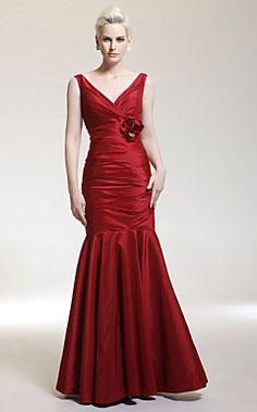 Trumpet/ Mermaid V-neck Floor-length Taffeta Evening Dress – USD $ 129.99