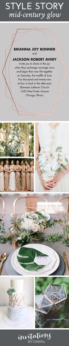 Chances are you've watched enough Mad Men to recognize the mid-century modern style that defines the 1950s and 60s. We've freshened up the look with a little shimmer and shine, making it into a stunning wedding theme that's creative and unforgettable!