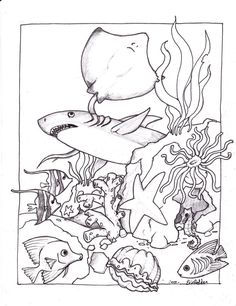 Awesome Ocean Creatures Coloring Pages High Quality - http://www.coloringoutline.com/awesome-ocean-creatures-coloring-pages-high-quality/?Pinterest