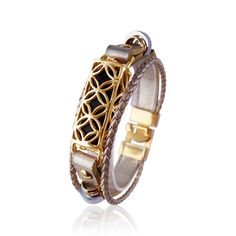 Elegant Gold Plated 925 Sterling Silver Band for Fitbit Flex 2 Fitness Tracker Handmade Jewelry Chain Links Bracelet Fitbit Flex 2 Bangle With Gold Plated Floral Design Holder /& Magnetic Clasp