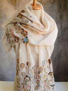 Linen voile, hand embroidered with linen thread. 20 x 56 inches. embroidered portion on 14 inch hems. Embroidery Scarf, Embroidery Motifs, Embroidery Fashion, Hand Embroidery Designs, Textiles, Knit Crochet, Hand Crochet, Embroidered Clothes, How To Wear Scarves