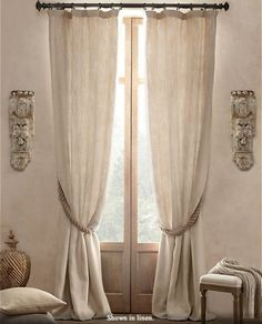 linen curtains with rope tieback