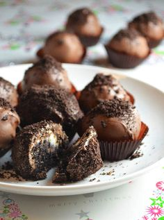 oreo truffles! Just crushed Oreos and cream cheese dipped in chocolate