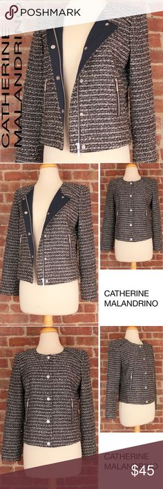 """Metallic Moto Career Tweed Navy White Blazer 193 CATHERINE MALANDRINO Moto Crop Tweed Black White Wool Zipper Blazer Lined Jacket. Has a beautiful metallic thread in the material - stunning and fun! Super versatile piece that is smart for the career work environment with slacks, pair with leather skirt or over a t shirt and jeans for a classy weekend outfit!  Retails: $140 Size: 6 Armpit to Armpit: 19"""" Shoulder: 15.5"""" Sleeves: 23"""" Length: 19"""" Condition: Very Good Condition - Gently Worn…"""