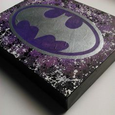 Purple and silver Batman logo - newspaper and acrylic painting. Size: 8x10 inches box canvas £15.00+Free delivery to UK. Worldwide will vary.  Anyone looking for different colours drop me a PM