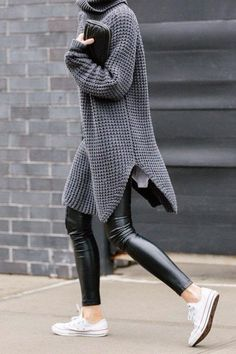 02 how to wear oversized sweaters leather leggings converse