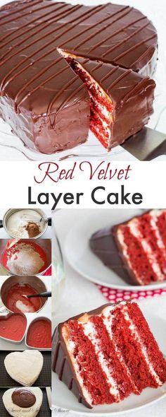 Four luxuriously velvety layers hidden under smooth dark chocolate ganache. This is red velvet cake heaven, my friend! #cakedecorating