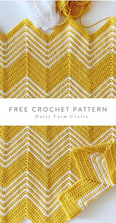 Free Pattern - Crochet Gold Chevron Blanket Free Crochet Pattern by Daisy Farm Crafts. Chevrons Au Crochet, Crochet Zig Zag, Chevron Crochet Blanket Pattern, Crochet Ripple Blanket, Crochet Daisy, Afghan Crochet Patterns, Crochet Stitches, Free Crochet, Chevron Afghan
