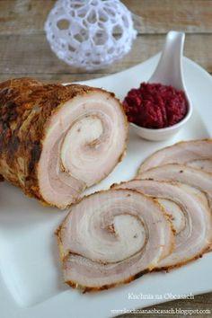 Boczek rolowany pieczony z czosnkiem Easter Recipes, Holiday Recipes, Pork Recipes, Cooking Recipes, Home Made Sausage, Deli Food, Polish Recipes, Pork Dishes, Food Photo