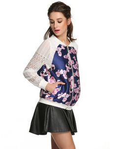 FINEJO Women Lace Organza Sleeve Patchwork Floral Jacket Tops