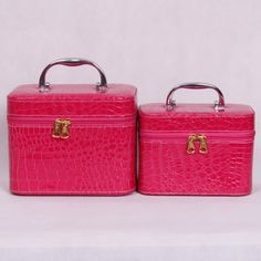 Vintage cosmetic bag large capacity portable makeup case storage box  2case/set
