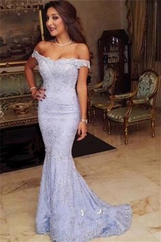 Sweep-Train Lace Off-the-shoulder Modest Mermaid Prom Dress#prom #fashion #mermaid #dress #dressbarn #promdress #okdressesy #style #love #elegant #promgown #promdresses #style #events #evening #eveningwear #party #partyideas #rhinestones #gowns #bridesmaid #lace #lacedress