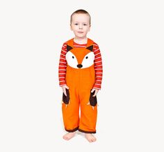 Fox dungaree costume overalls for children in por wildthingsdresses