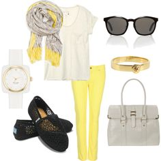 outfit: offwhite pocketed sheer tee, yellow skinny-jeans, black sunglasses, grey / yellow scarf, gold bracelet, white / gold watch, black flats, grey handbag