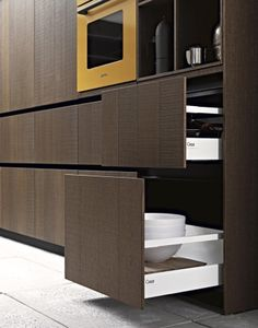 drawers are the best storage solution. Cognac rough oak drawer fronts | Cesar