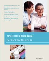 Covering the range of senior care businesses that are increasingly I demand today, this book shows how to start and run a profitable, ethical, and satisfying home-based business in this field. It covers those businesses that can be set up by people with special qualifications - such as nurses, social workers, and others with health and human services degrees - as well as those that can be run by individuals with little or not formal training, who have an interest in caring for others.
