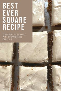 Warm gingerbread squares with a vanilla cream cheese frosting Unique Recipes, Amazing Recipes, Keto Recipes, Vanilla Cream Cheese Frosting, Different Recipes, Squares, Gingerbread, Food Ideas, Healthy Living