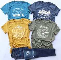 Disclosure: Affiliate links are used in this post. Any purchase you make using these links supports this site. T-shirts Graphiques, 3d Laser, Travel Shirts, Deep Teal, Vinyl Shirts, Summer Shirts, Happy Campers, Colorful Shirts, Shirt Designs