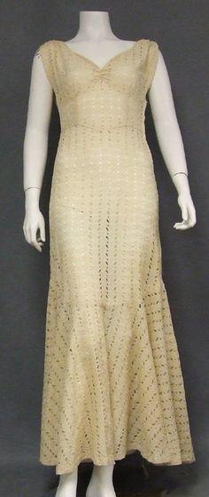 FANTASTIC Eyelet 1930's Evening Gown w/ Trumpet Hem - Vintageous, LLC