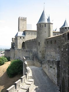Carcassonne, France. Walking on the ramparts from which medieval knights used to pour boiling oil on their enemies is like every little kid's dream