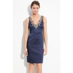 Trina Turk 'Dakota' Jeweled Satin Sheath Dress