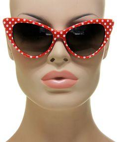 Sexy Classic Cat Eye Polka Dots Nikita Retro Vintage Fashion Red Sunglasses #Unbranded #Aviator
