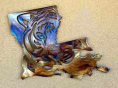 LSU Tiger Louisiana Metal Art Boot by DamrillMetalArt on Etsy https://www.etsy.com/listing/212194083/lsu-tiger-louisiana-metal-art-boot