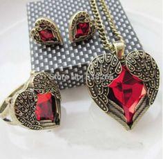 Online Shop Red asa do anjo Gem sintético coração de pedra colar apenas jóias presente|Aliexpress Mobile