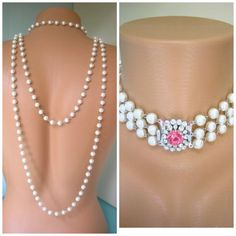 Backdrop Necklace Bridal Pearl Necklace by CrystalPearlJewelry, $145.00